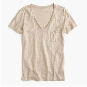 J Crew metallic gold linen v neck tee size XL